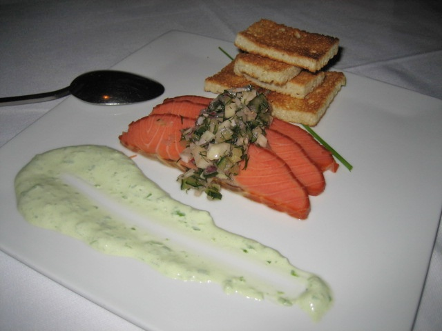 House Smoked Salmon with foccacia toast, cucumber fennel relish, and scallion sour cream: makings for nice finger sandwiches