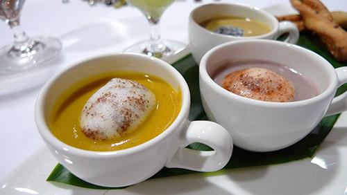 Soup trio (pumpkin, wild mushroom, Peruvian purple potato)