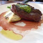 Hanger steak with artichokes, wax beans and pesto
