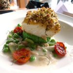 Green olive and pecorino-crusted halibut