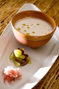 Olivar: Ajo blanco - Chilled Marcona almond soup with garlic, Spanish judion bean, and Serrano ham