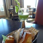 ART: Virgin green bloody Mary and bread bowl (including salmon skin)