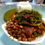 Cold plate at 2nd dinner: peanuts, seaweed salad, shank