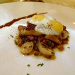 Foie gras with lentils de puy and hedgehog mushrooms