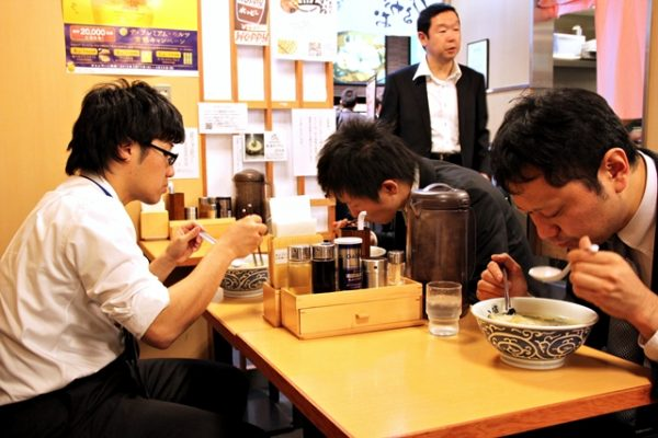 Fellow comrades in slurping. Eating ramen is quick, fun, and a somewhat serious affair.