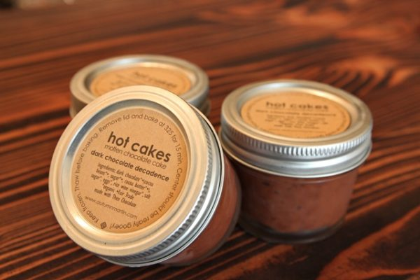 The store sells the original take-n-bake Hot Cakes ($8.00). Heat up these molten chocolate cakes right in the mason jars, and you can impress your guests at home. Vegan option available.