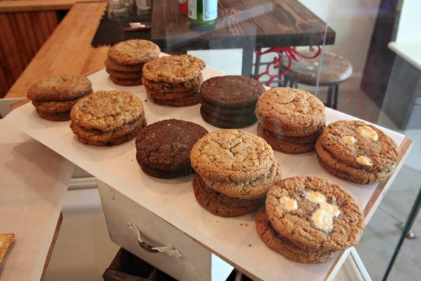 Cookies include salted peanut butter, bacon oatmeal raisin, chocolate chip, and s'mores.