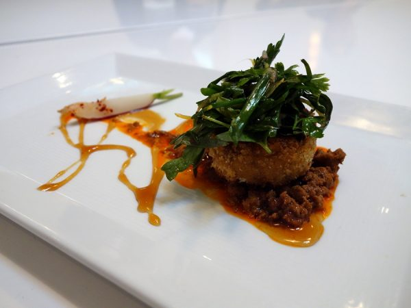 Barking Frog lamb chorizo sweet potato croquette