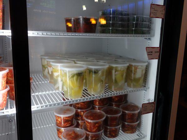 Available to go: Napa cabbage kimchi, kale kimchi, and water kimchi