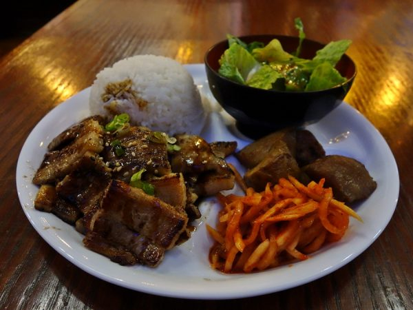 Grilled pork belly meal at Kimchi House