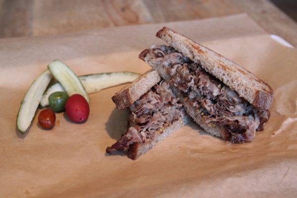 Terra Cole pastrami sandwich