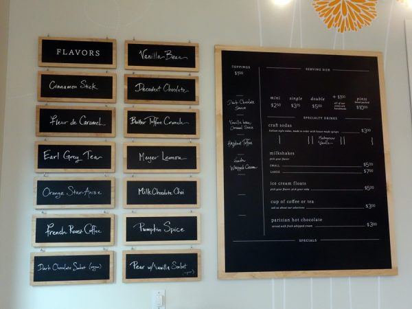 Parfait ice cream menu