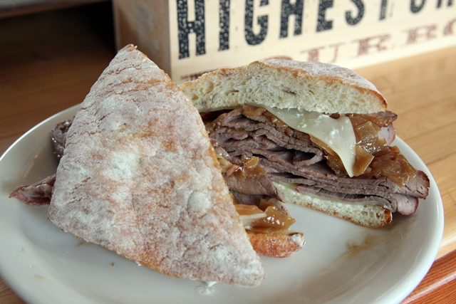 Deli: Roast beef sandwich on a potato roll with horseradish mayo ...