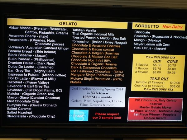 Interesting menu board at Bella Gelateria