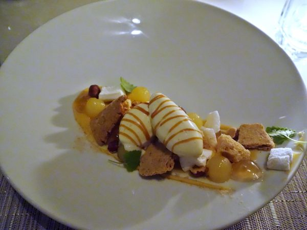 Spiced apple, vanilla, almond sable, caramel, and smoked salt at Hawksworth