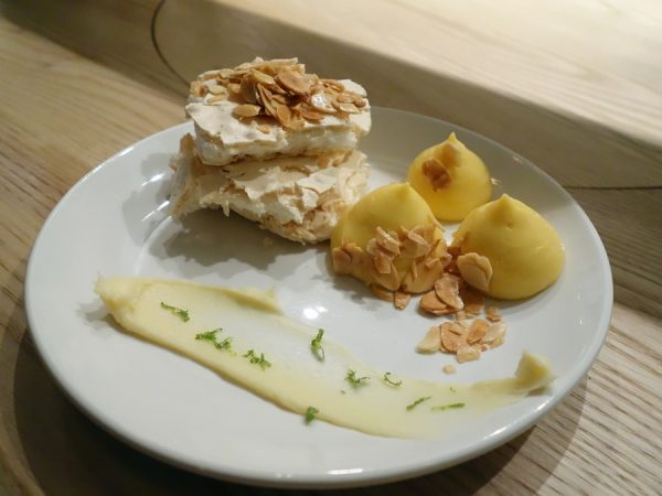Dessert: meringue, passion fruit curd, almonds, white chocolate, lime at PiDGiN