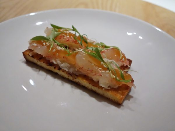 Humpback shrimp toast with daikon slaw on brioche at PiDGiN