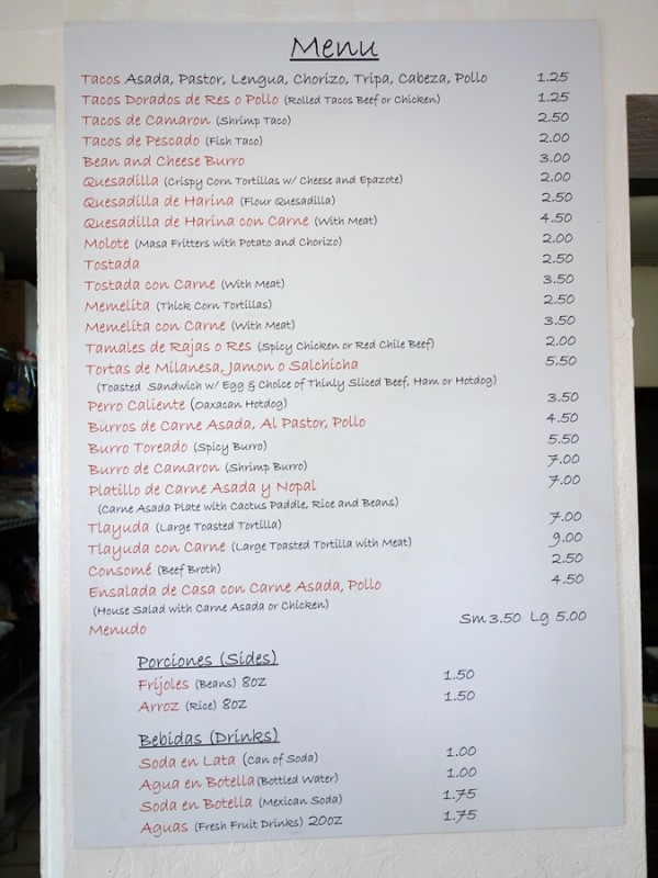 Atoyac menu