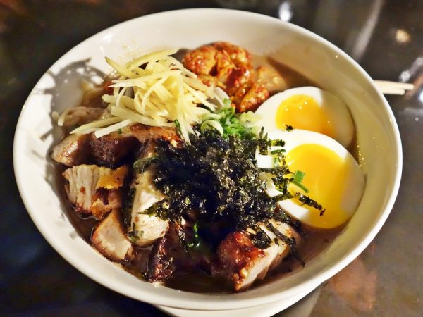 Brimmer & Heeltap's ramen with Chinese-style roast pork and Brussels sprout kimchi ($10)