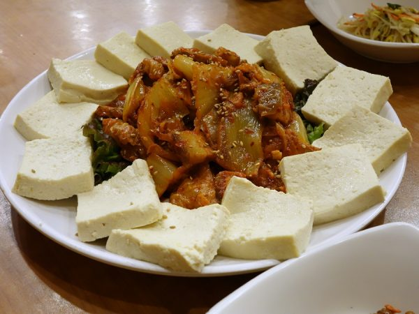 Tour tofu with kimchi
