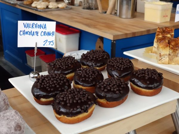 Everything calls out at Blue Star Donuts, like these Valrhona chocolate crunch donuts