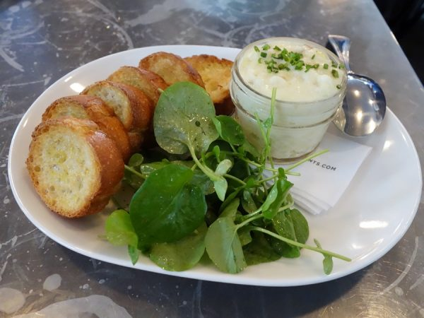 Salt cod with toast and watercress ($9)