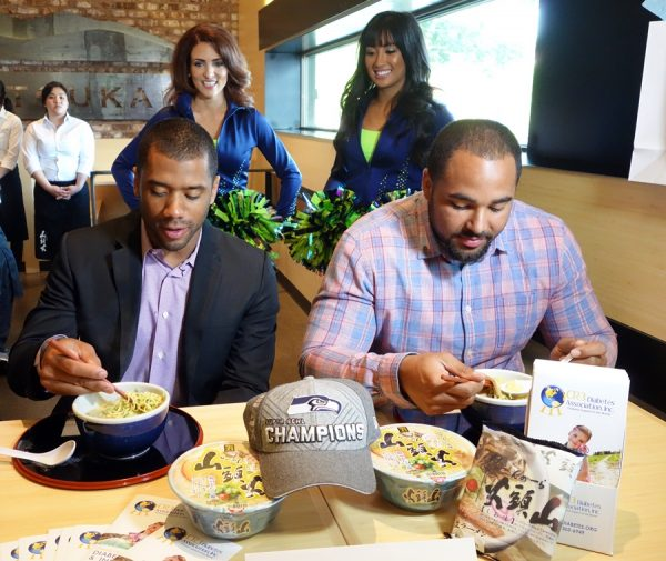 I stopped by and saw Seattle Seahawks' Russell Wilson and Jordan Hill sample Santouka's ramen for the first time