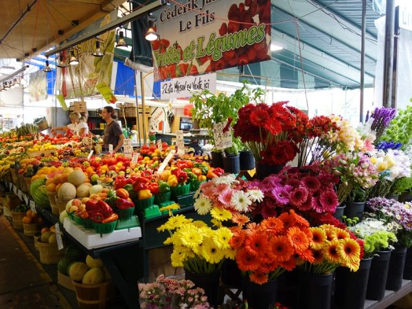 Flowers and fruits at Atwater Market.