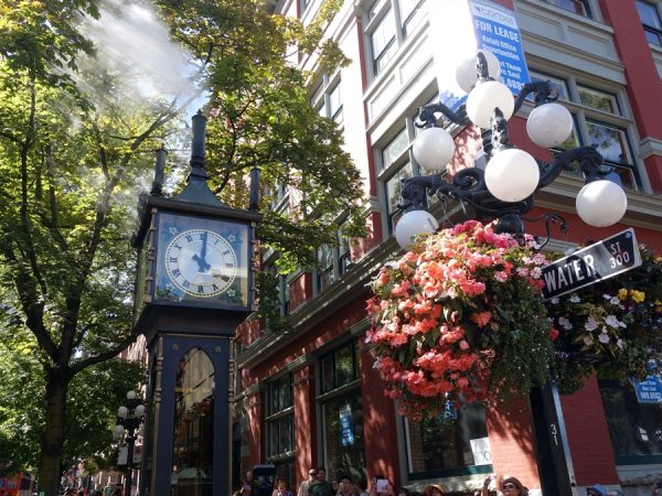 The famous Gastown steam clock, in action