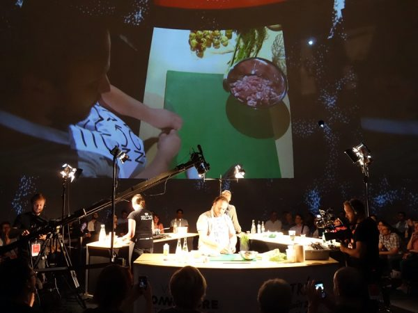 A peek at a Masterclass session of the Omnivore Food Festival: Ivan Shishkin of Delicatessen in Moscow prepares pan-fried testes and uterus doughnuts.