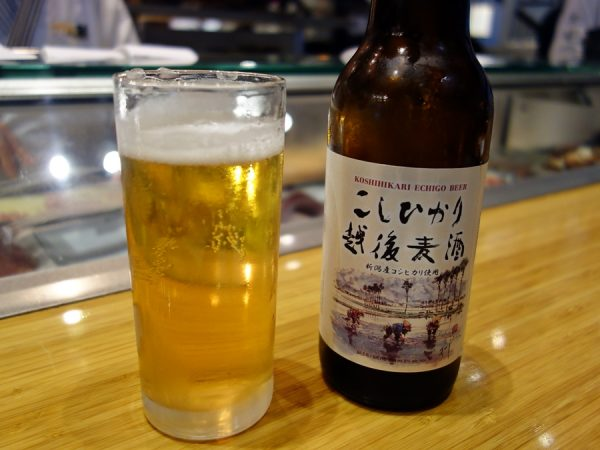 Echigo Koshihikari beer at Tojo's pairs well with the food