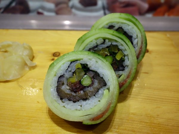 Refreshing cucumber roll with ume (brilliant flavor!), kampyo, takuan, asparagus, and gobo