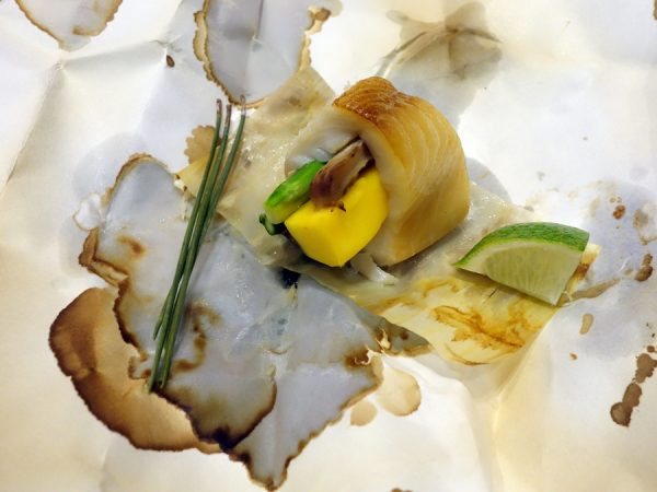 Sable fish unwrapped, with asparagus, gobo, matsutake, and mango (mango!)