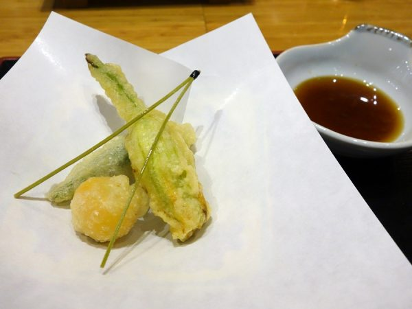 Tojo's tempura: squash blossom stuffed with white fish paste and chopped scallops, okra, and sweet tomato, plus soba noodles as pine needles (all delicate and delicious)