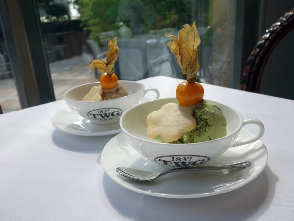 Bonus sampling of Urban Tea Merchant's ice creams: chocolate earl grey and matcha