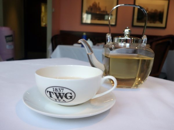 White tea served from a $500 glass teapot at Urban Tea Merchant