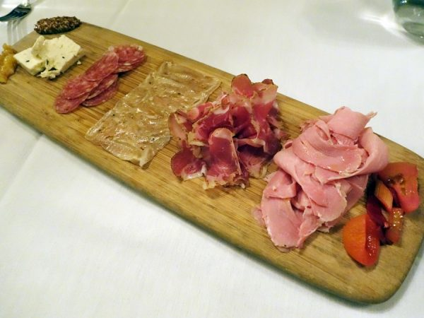 Charcuterie plate (delicious pickled vegetables to the far right) at Colt & Gray