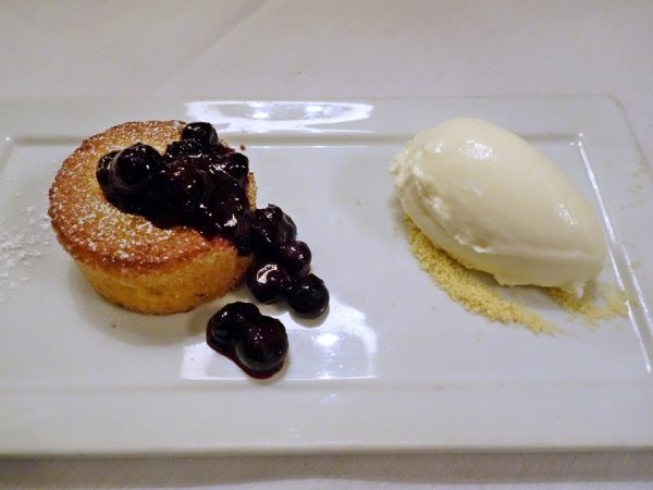 Olive oil & thyme cake with blueberry compote and lemon buttermilk ice cream at Colt & Gray