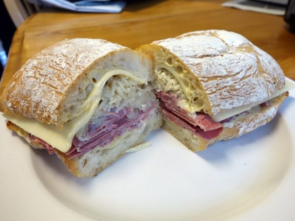 The Curtis at Curtis Park Deli: corned beef, Swiss cheese, house 1000 Island, and local sauerkraut