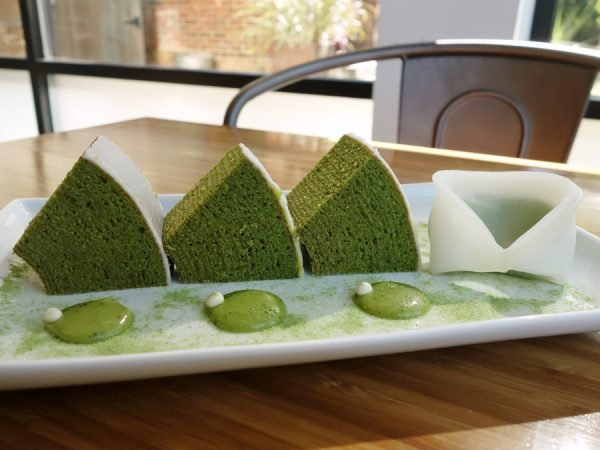 Green tea baum cake (and matcha cream-filled mochi) at Glaze by Sasa