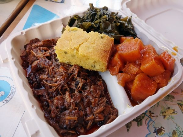 BBQ pork with collards, candied yams, and jalapeno cornbread at Tom's Home Cookin'