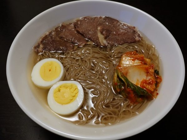 "Mul naengmyeon with hard-boiled egg (perhaps the ""worst"" way to prepare fresh eggs)"
