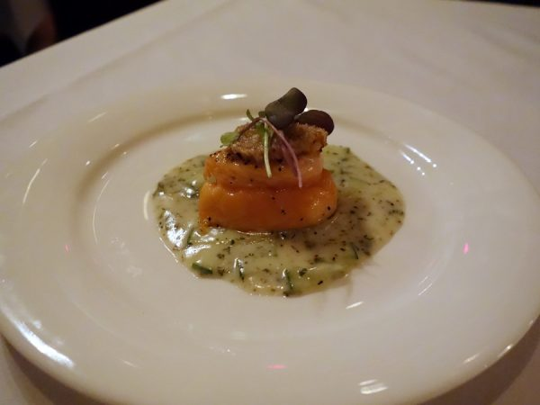 EDWINS' amuse bouche: oven-roasted salmon with horseradish crust and dill-cucumber sauce