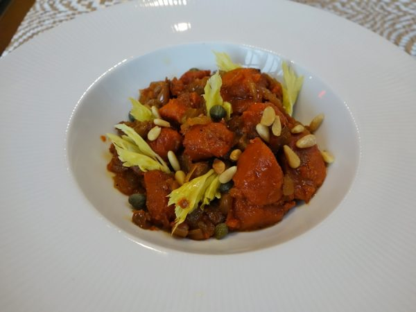 Roasted carrot caponata with raisins, fennel seed, roasted red peppers, pine nuts, and vinegar