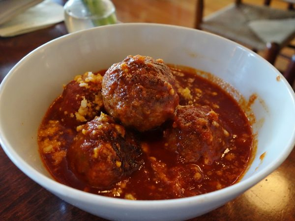 Polpettine (house-made meatballs in tomato sauce) at Bar del Corso