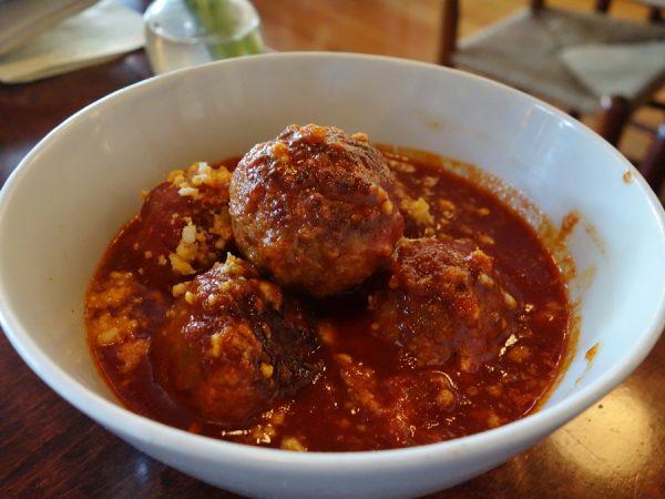 Polpettine (house-made meatballs in tomato sauce) at Bar del Corso