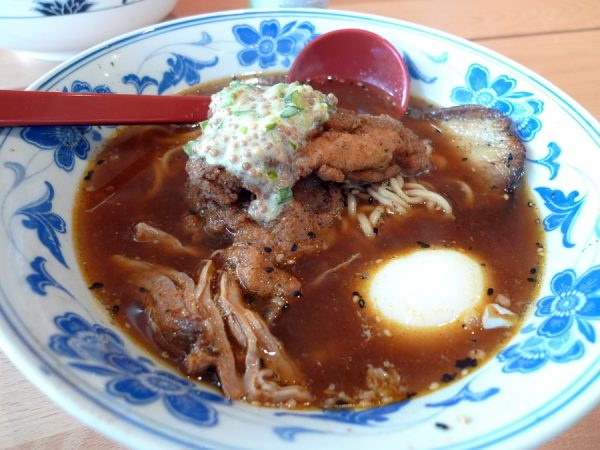 Ramen with fried chicken at Boke Bowl