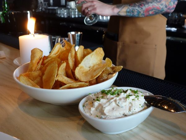 Chippy's potato chips with smoked clam and bacon dip