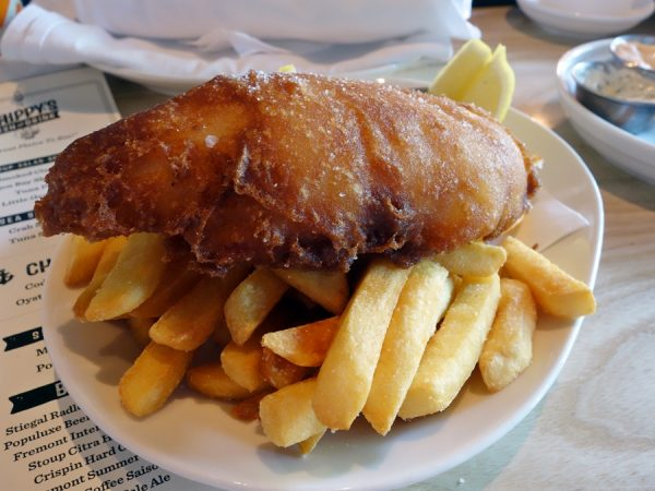 Just a portion of what was previously a huge fish and chips platter