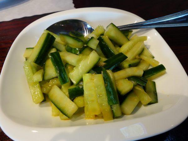 Spicy mixed cucumber at Dumpling Generation